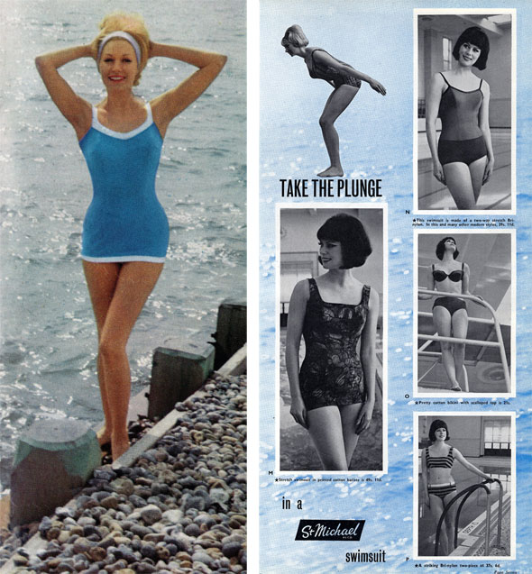 aea37c9319 Left: Bri-Nylon Stretch swimsuit, St Michael, 1963. Right: Advert from St  Michael News staff magazine, 1963